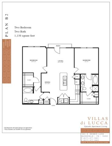 1,138 sq. ft. B2 floor plan