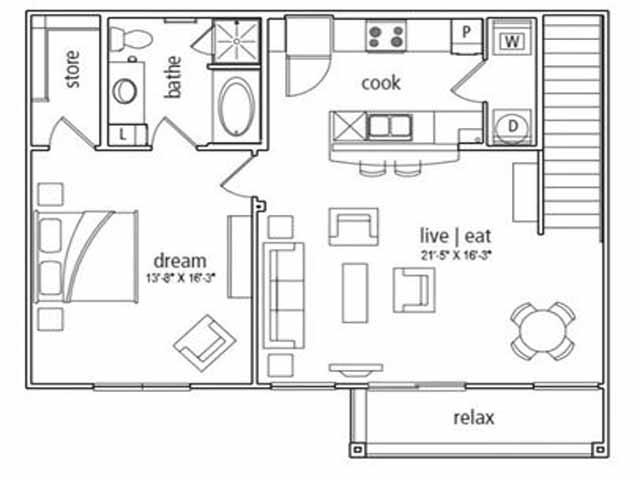 964 sq. ft. Cannes floor plan