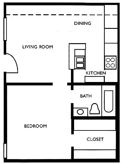 457 sq. ft. A floor plan