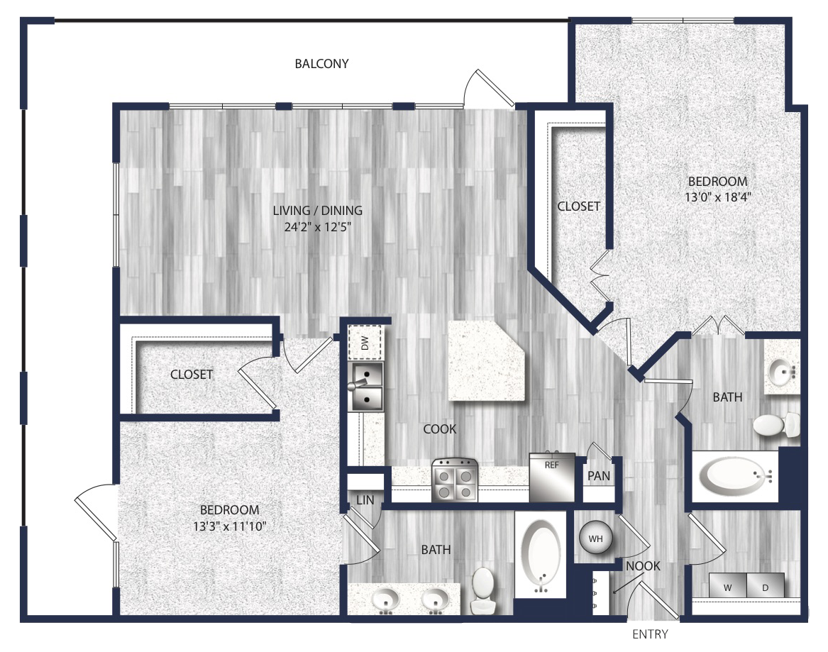 1,212 sq. ft. to 1,277 sq. ft. B3 floor plan