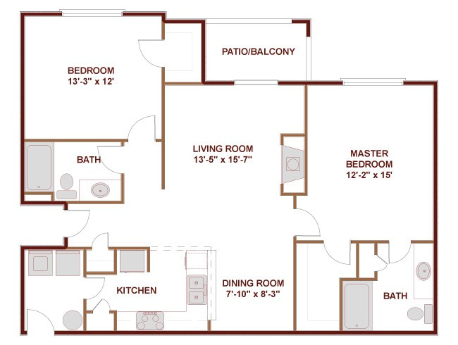 1,085 sq. ft. to 1,175 sq. ft. 22B floor plan