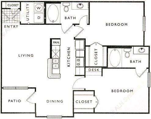 1,017 sq. ft. D floor plan