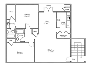 1,134 sq. ft. Fairmount floor plan