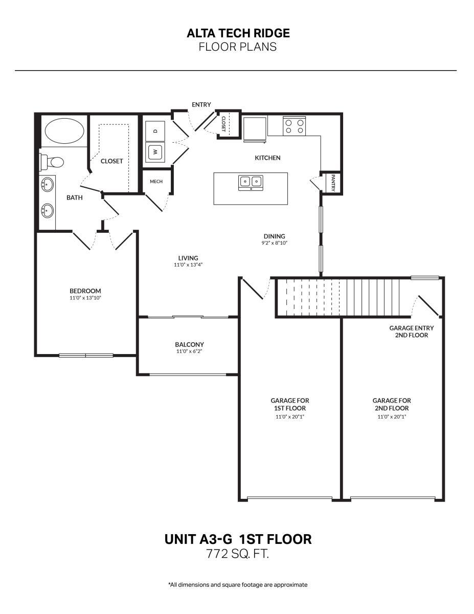 772 sq. ft. A3G1 floor plan