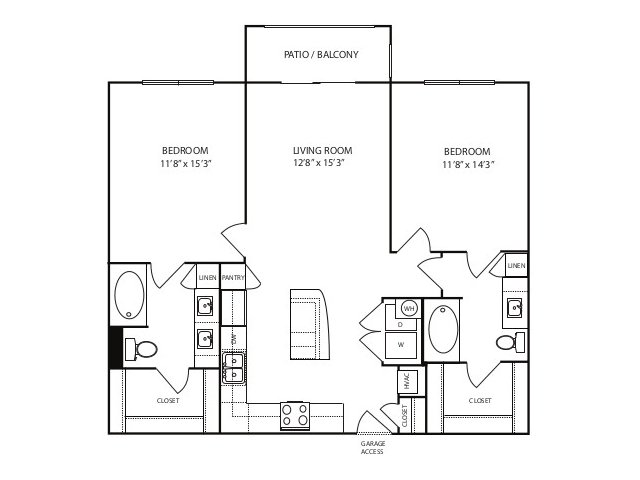 1,080 sq. ft. B1 ansi floor plan