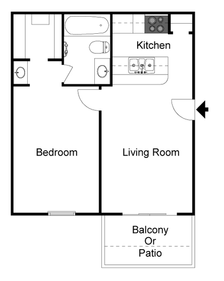 486 sq. ft. A floor plan