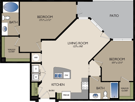 1,081 sq. ft. B4 floor plan