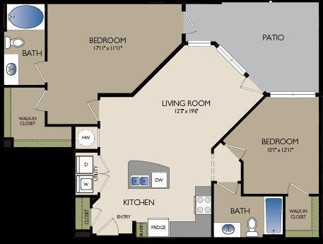 1,081 sq. ft. B4 floor plan
