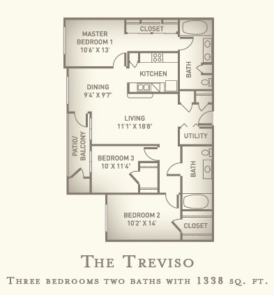 1,338 sq. ft. Treviso floor plan