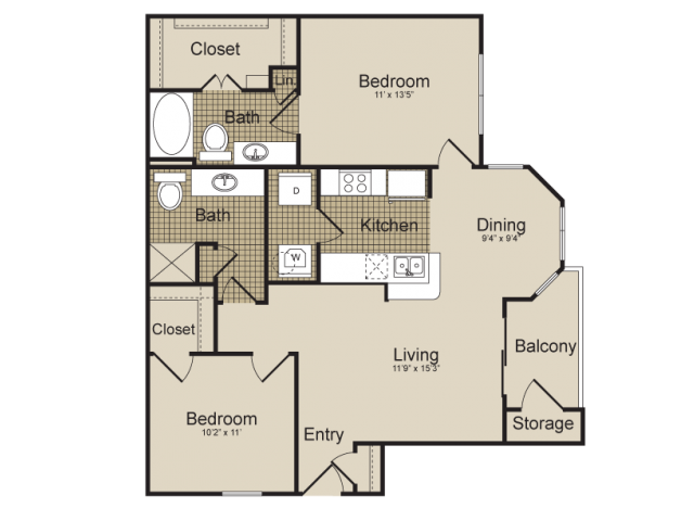 972 sq. ft. Mensa   (B1) floor plan