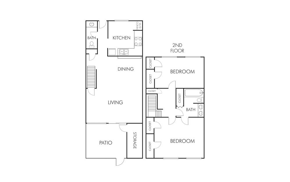 1,245 sq. ft. B1 floor plan