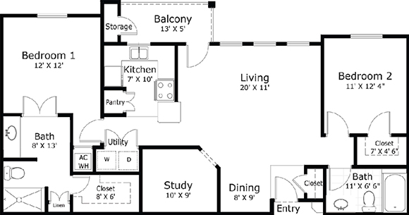 1,228 sq. ft. B2 floor plan