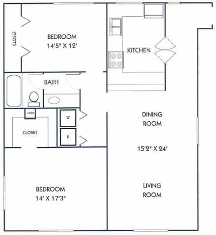 836 sq. ft. D1/D1U floor plan