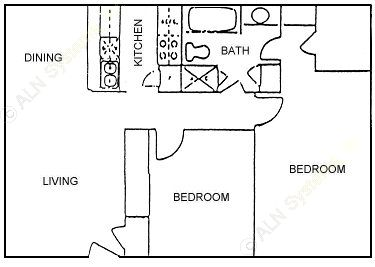 893 sq. ft. LARGEST FLAT 2BDRM floor plan