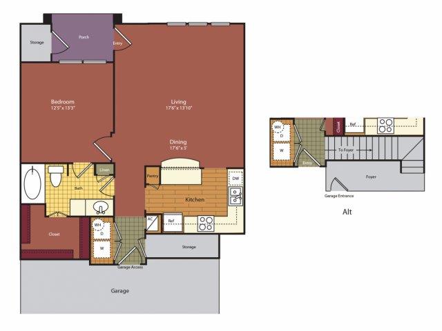 840 sq. ft. A3G floor plan
