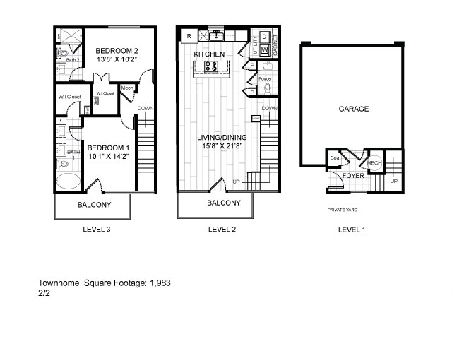 1,983 sq. ft. Townhome floor plan