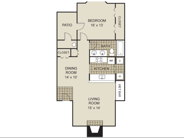 775 sq. ft. A3-A floor plan