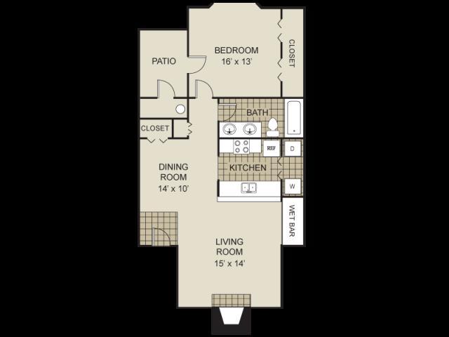775 sq. ft. A3-A floor plan