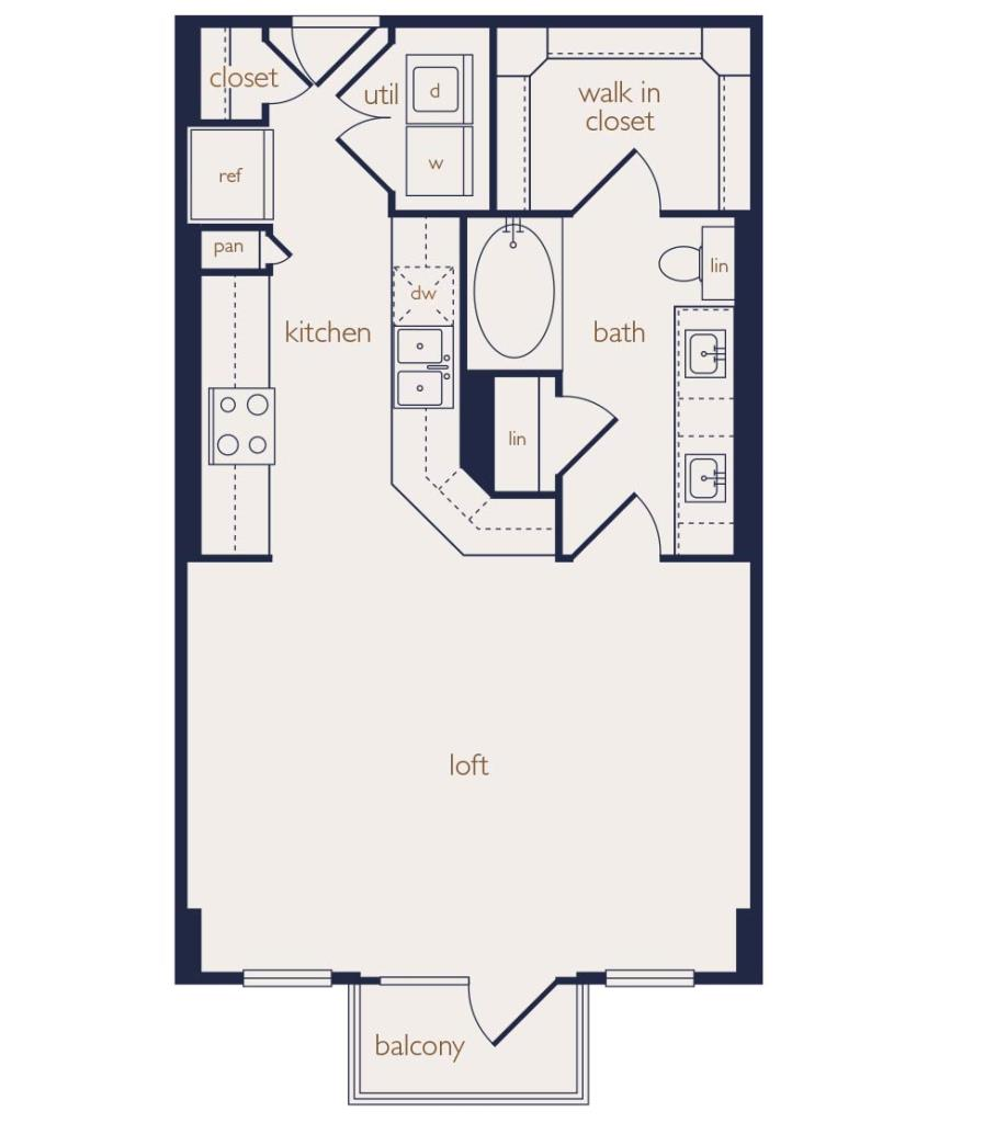 644 sq. ft. floor plan