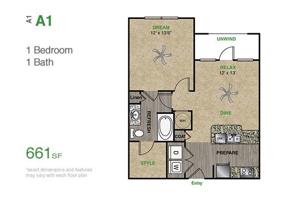 661 sq. ft. A1.1H floor plan