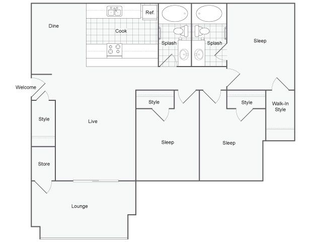 1,202 sq. ft. Bari floor plan