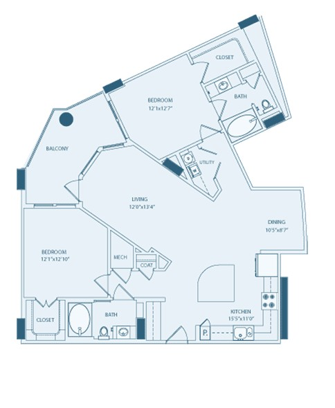 1,277 sq. ft. B2A floor plan