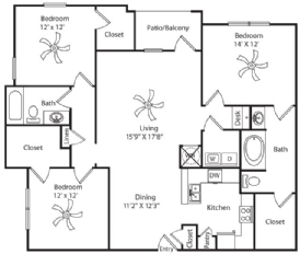 1,491 sq. ft. floor plan