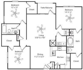 1,491 sq. ft. floor plan