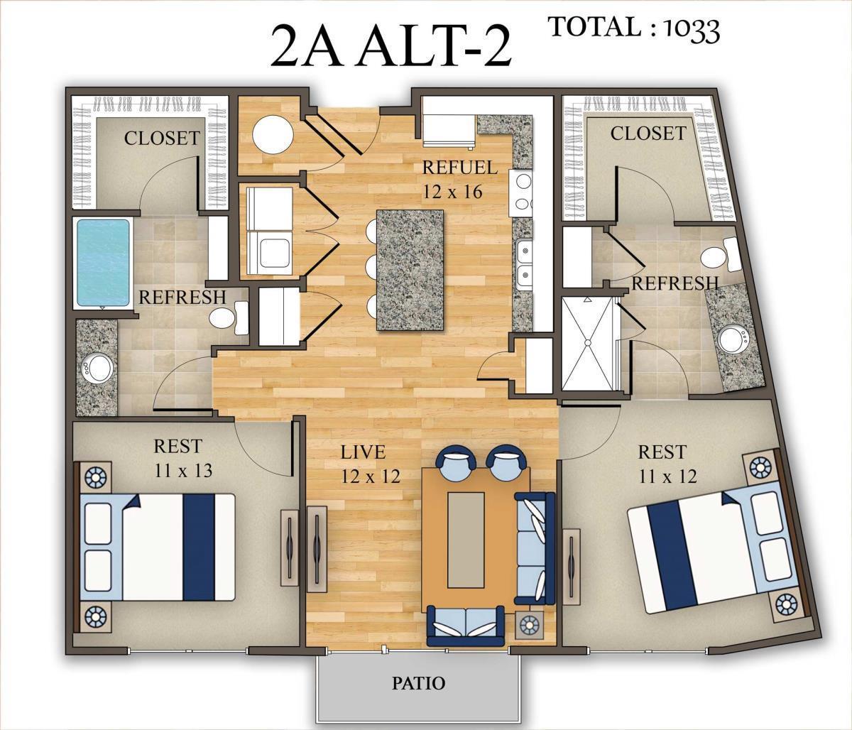 1,033 sq. ft. 2A Alt 2 floor plan