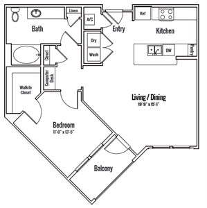 847 sq. ft. Georgetown HC Alt floor plan