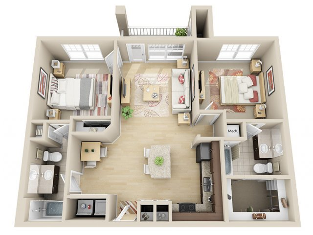 1,002 sq. ft. B1a floor plan