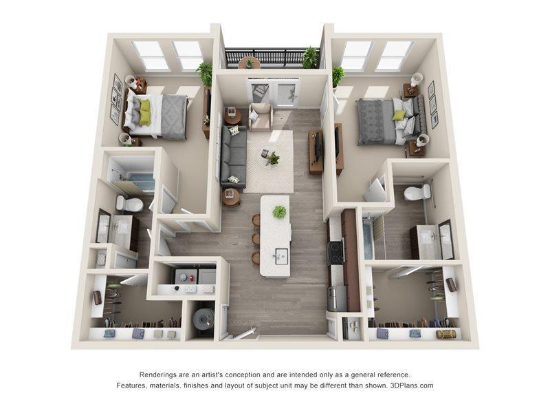 1,101 sq. ft. B2A floor plan