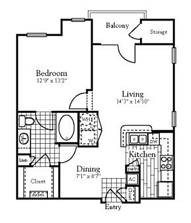 743 sq. ft. to 760 sq. ft. floor plan