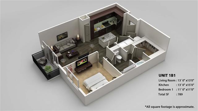 789 sq. ft. 1B1 floor plan