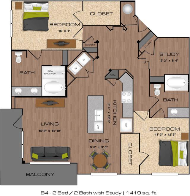 1,419 sq. ft. B4 floor plan