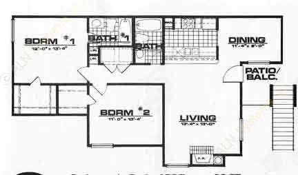 1,000 sq. ft. B2-VILLA floor plan
