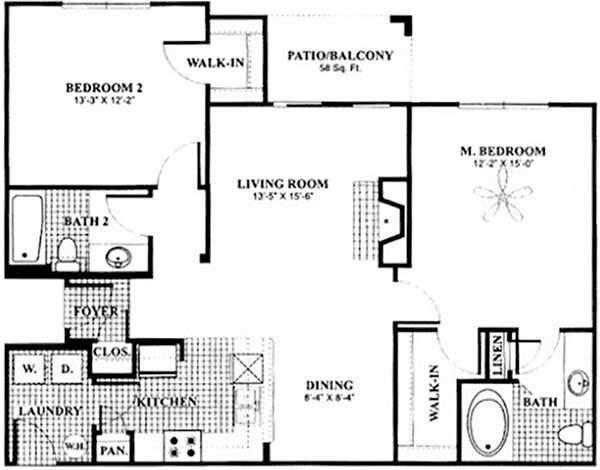 1,124 sq. ft. B2a floor plan