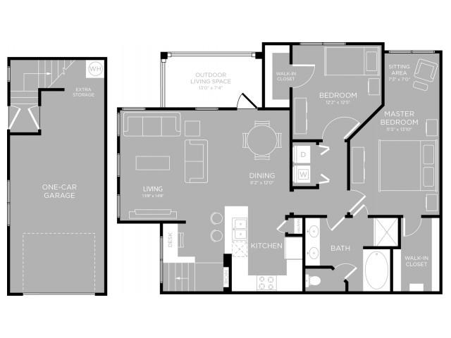 1,181 sq. ft. Hyde Park B2 floor plan