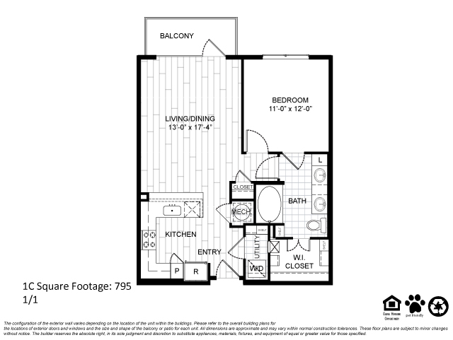 795 sq. ft. 1C floor plan