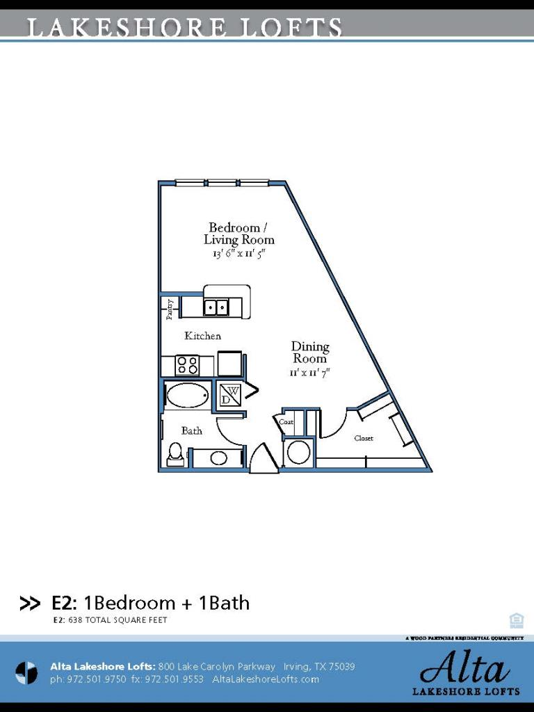 638 sq. ft. E2 floor plan
