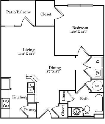 691 sq. ft. E1 floor plan