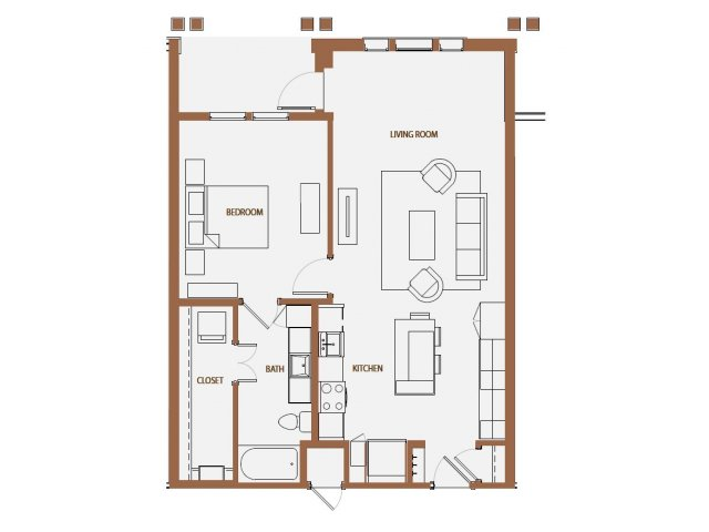 813 sq. ft. A2-4 floor plan