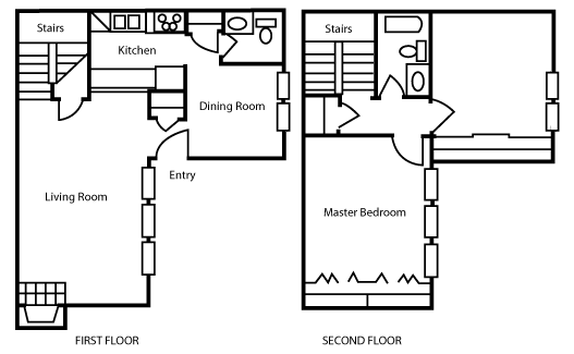 1,008 sq. ft. B2 floor plan