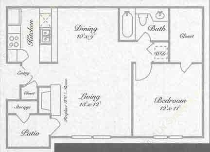 677 sq. ft. A2 floor plan