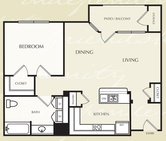 727 sq. ft. A1/60% floor plan