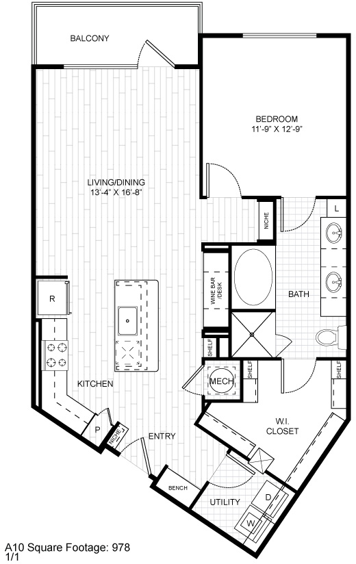 968 sq. ft. A14.1 floor plan