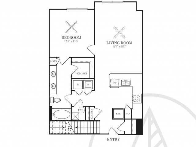 883 sq. ft. A5B floor plan