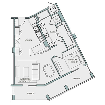 791 sq. ft. A3A.1 floor plan