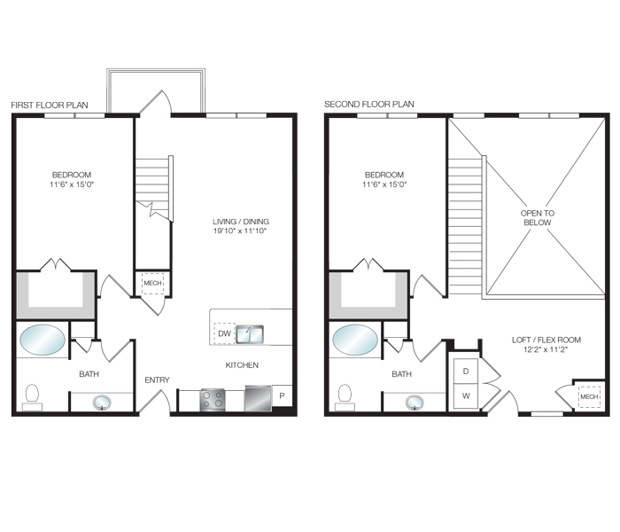 1,392 sq. ft. L2 floor plan
