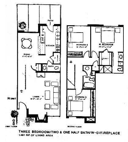1,481 sq. ft. N floor plan